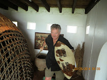 FWT with Zulu shield and spear, Fort Nongqayi Museum, Eshowe, Zululand