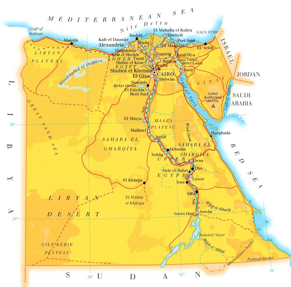 Egito | Mapas Geográficos do Egito
