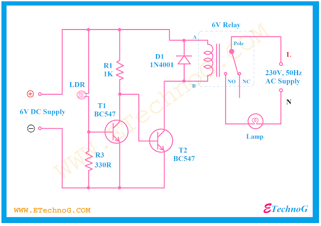 Light Dependent Resistor(LDR) project, automatic night lamp circuit using LDR