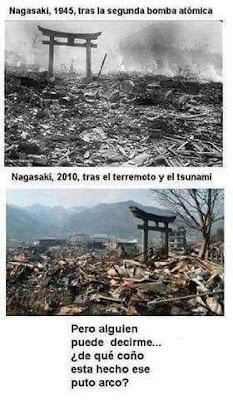 Nagasaki, 1945, segunda bomba atómica, 2010, terremoto, tsunami, arco, japonés