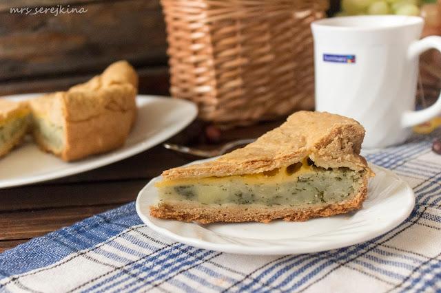 Пирог с картофелем, укропом и сыром