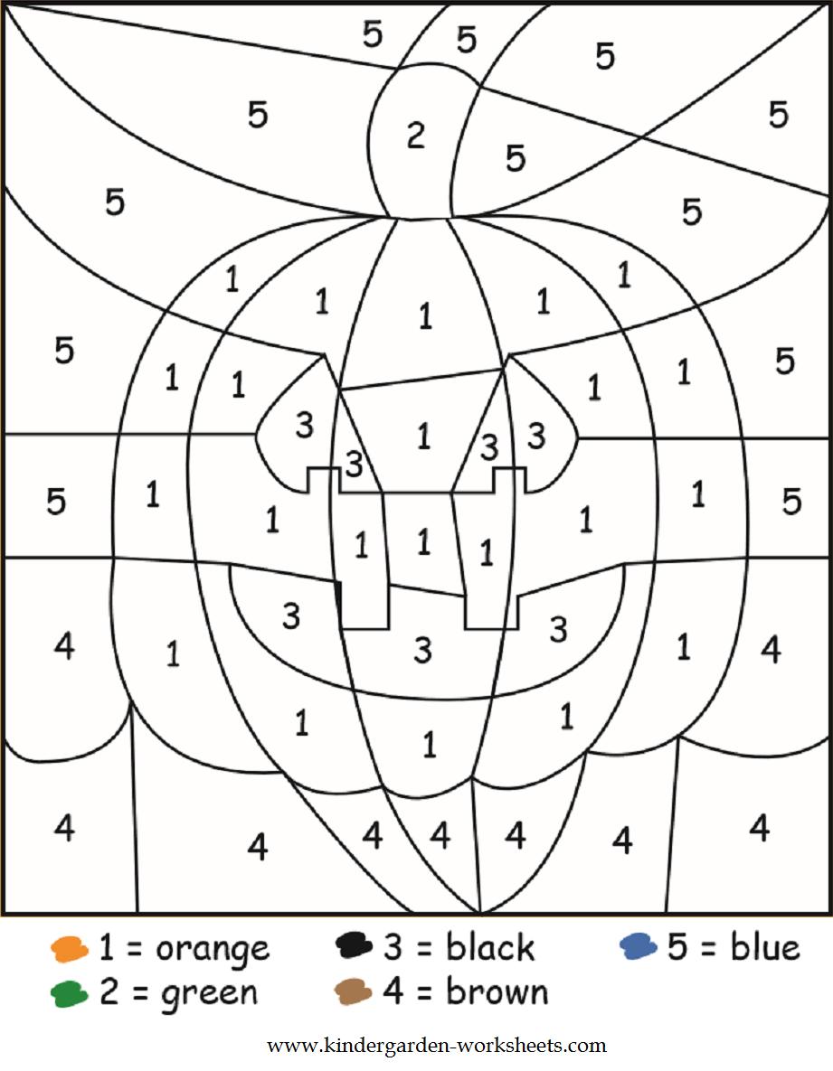 Kindergarten Worksheets: Halloween Color by Numbers Worksheets
