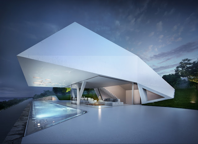 First floor of modern villa with swimming pool and open living and dining room at night