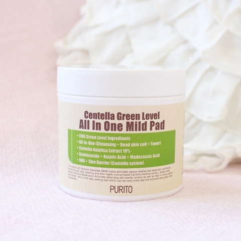 Purito review centella green level all in one mild pad kbeauty korean beauty blog blogger 퓨리토 리뷰 뷰티 스킨케어 센텔라 그린레벨 올인원 마일드 패드