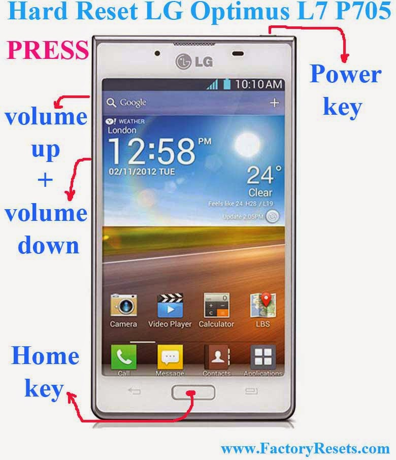 Hard Reset LG Optimus L7 P705