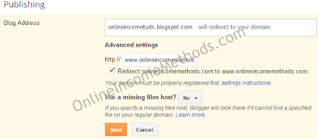 Custom Domain Redirection Settings for Blogger