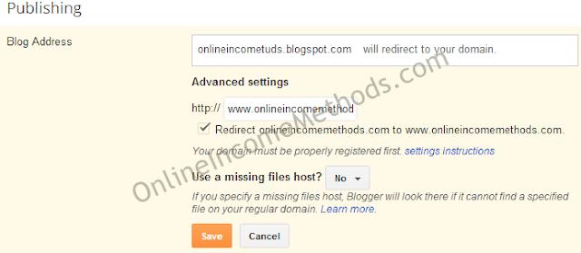 Custom Domain Redirection Settings for Blogger