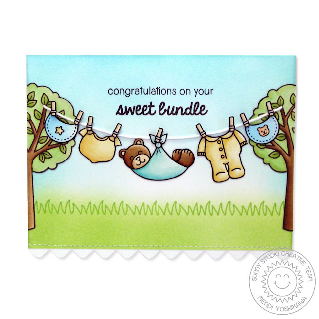 Sunny Studio Stamps: Baby Bear Sweet Bundle Clothesline Card by Mendi Yoshikawa