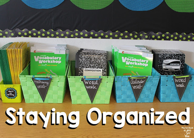 Staying organized is a great way to keep your classroom clean! It also helps you and your students know exactly where everything is!