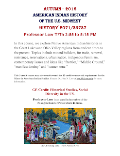 Autumn 2016. History 2071. American Indian History of the U.S. Midwest Flyer PDF.