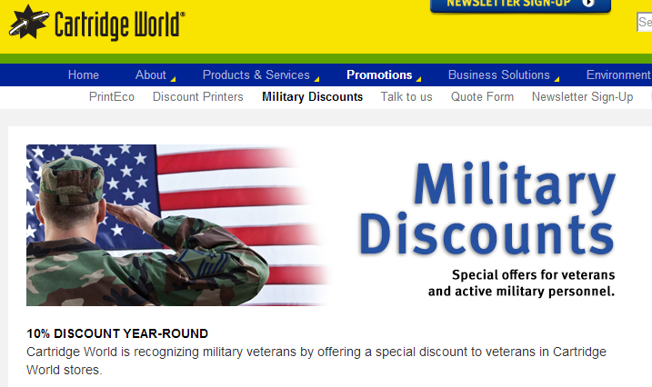 Discounts & Deals 4 Military: Cartridge Ink (10% Military