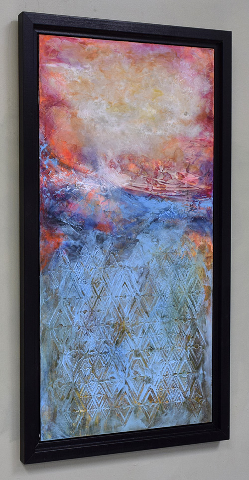 tall framed vertical colorful painting