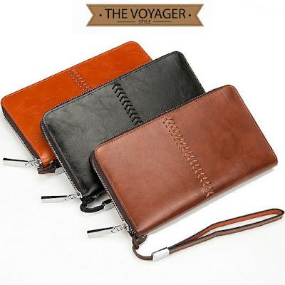 Dompet panjang clutch kulit pria wanita import asli vintage premium mewah original