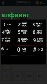 На клавиатуре кнопочного телефона написан алфавит белыми буквами на черном фоне панели