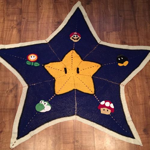 Mario Free Crochet Pattern Afghan Star Blanket