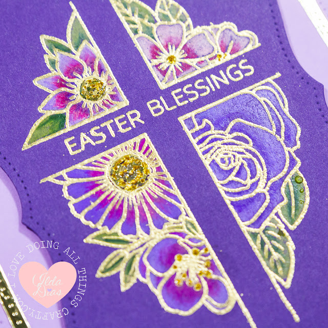 Easter Blessings Card - Studio Katia's Floral Cross by ilovedoingallthingscrafty