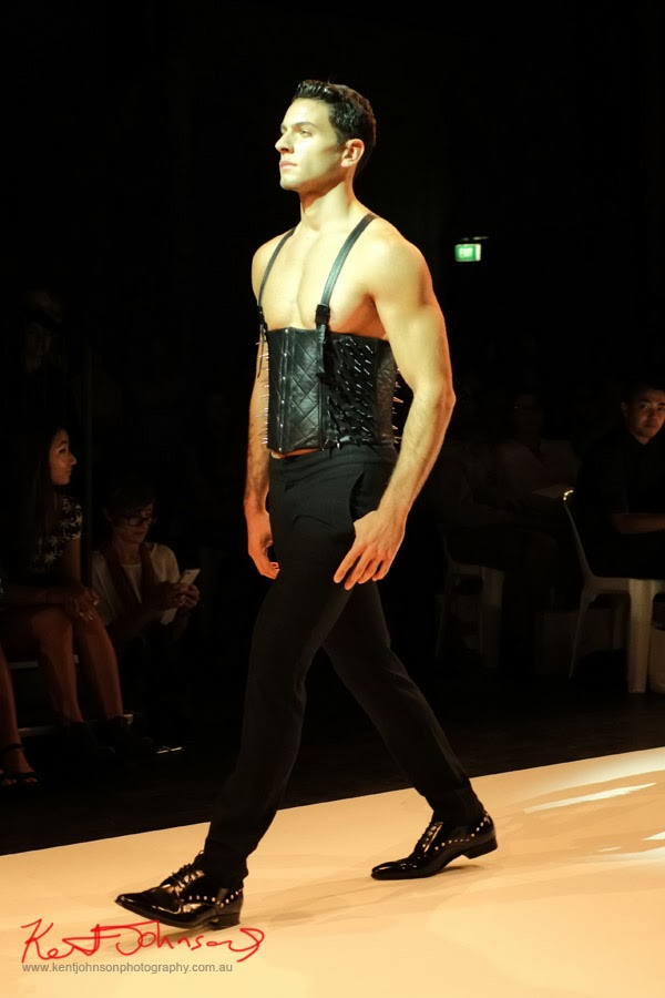 Li Tung Chou; men's studded leather corset - New Byzantium : Raffles Graduate Fashion Parade 2013 - Photography by Kent Johnson.