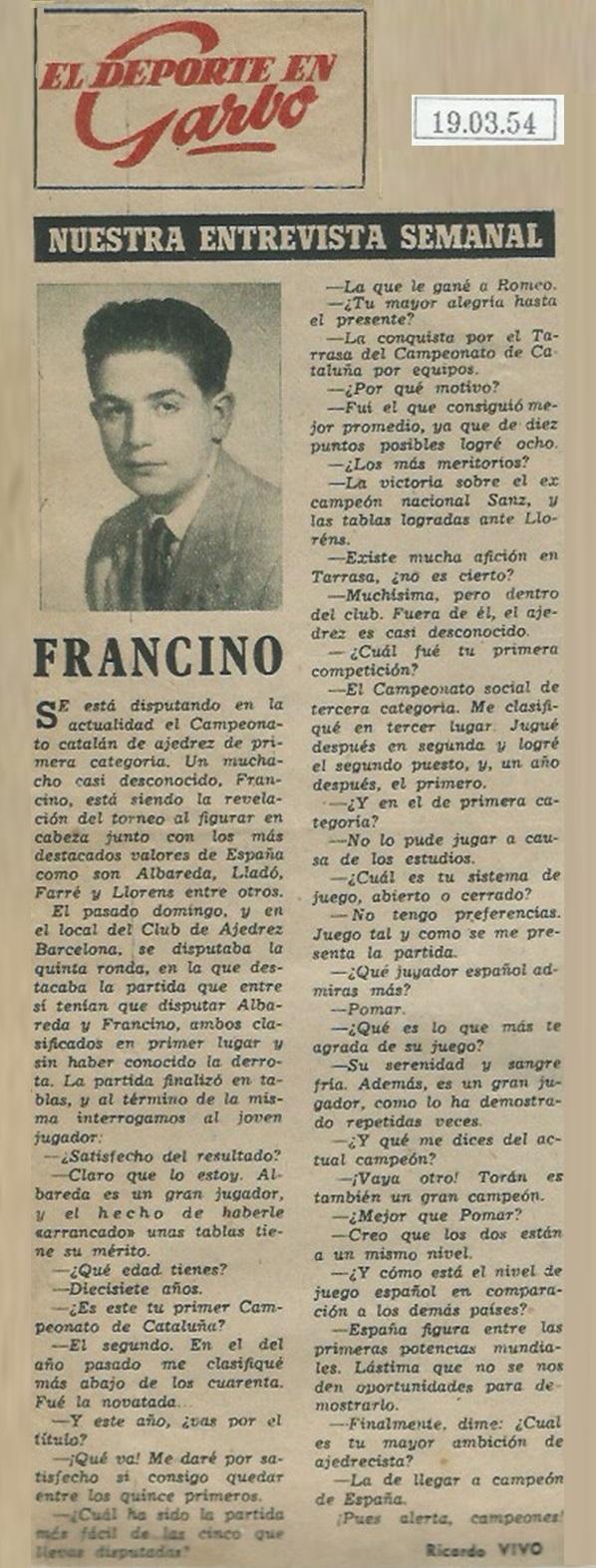 Entrevista en la Revista Garbo a Lucien Francino, 1954