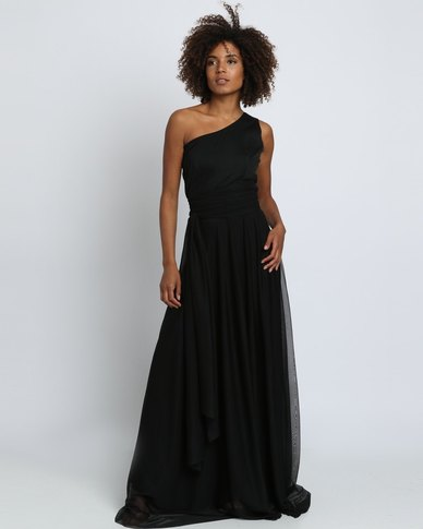 one shoulder long black elegant dress