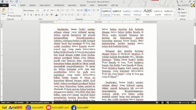 Cara membuat gambar berbentuk lingkaran di tengah tulisan Microsoft word + video