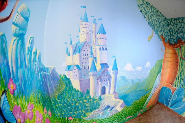 fresque pour enfant représentant un chateau de princesse