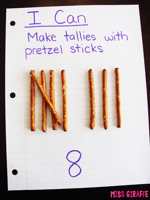 Teaching tally marks with pretzel sticks and other fun tallies and tally chart activities