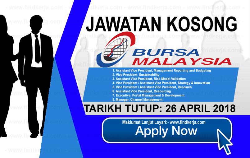 Jawatan Kerja Kosong Bursa Malaysia Berhad logo www.findkerja.com april 2018