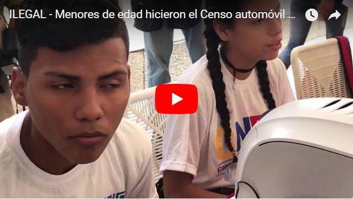 Menores de Edad fueron los que hicieron el Censo Chantajista de Automóviles de Maduro