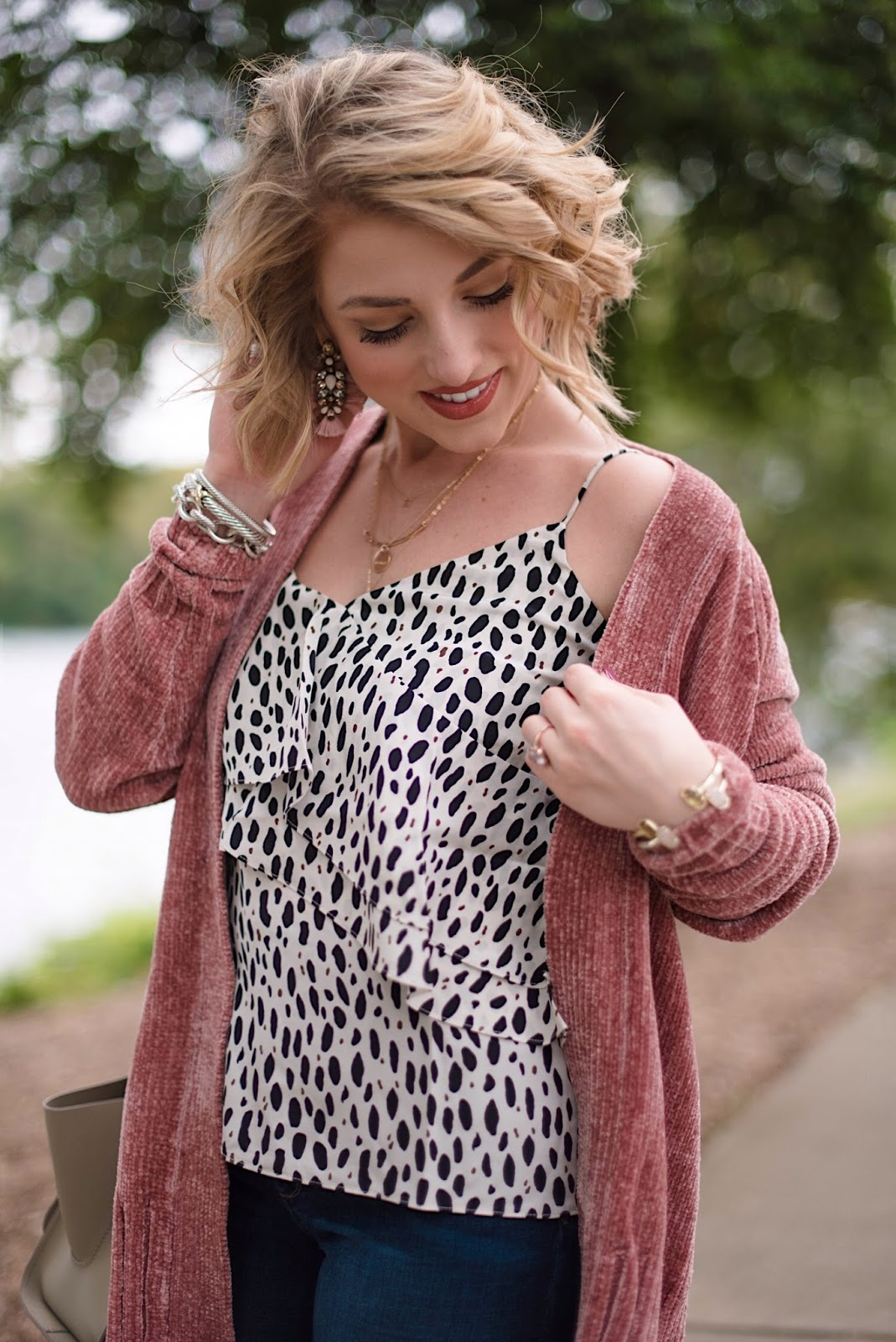 J.Crew Leopard Ruffle Cami - Something Delightful Blog