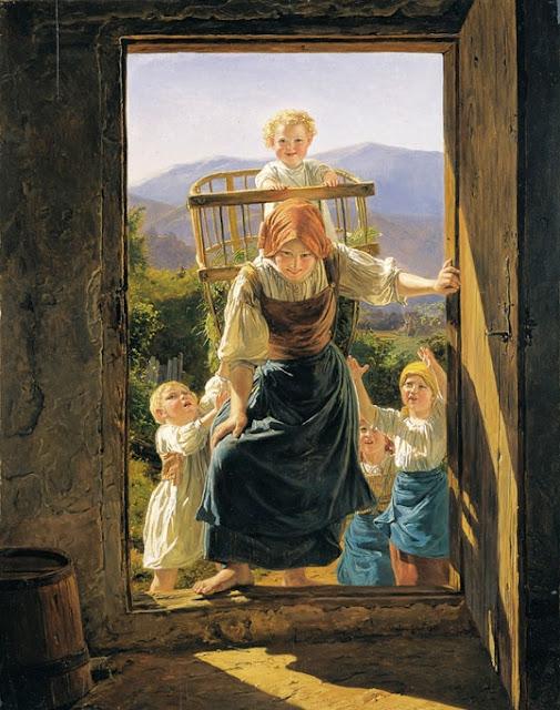 Ferdinand Georg Waldmuller - Мать с детьми возвращаются домой