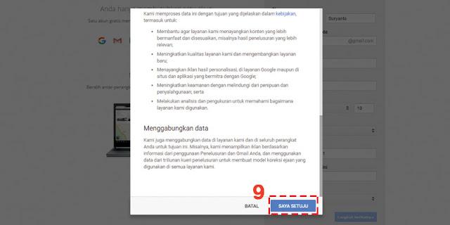 Menyetujui Syarat & Ketentuan Untuk Pendaftaran Akun Google Baru