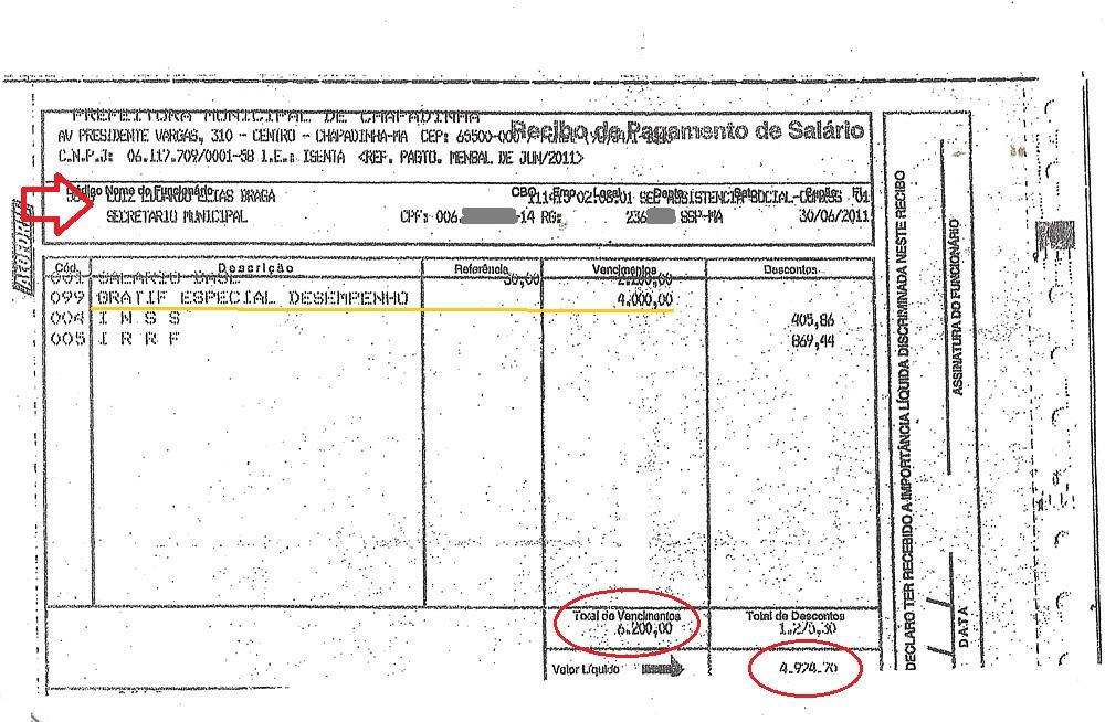 Outro contracheque de Eduardo Braga constando gratificação ilegal, de R$ 4 mil
