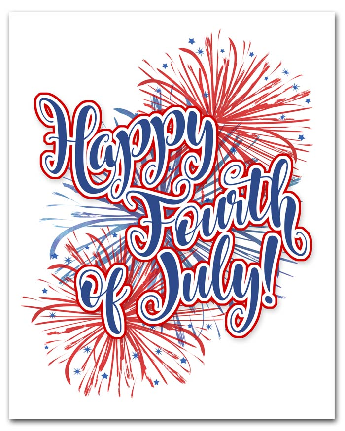 Red, White, and Blue Fireworks Printable