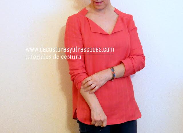 proceso de confección blusa con bonito cuello