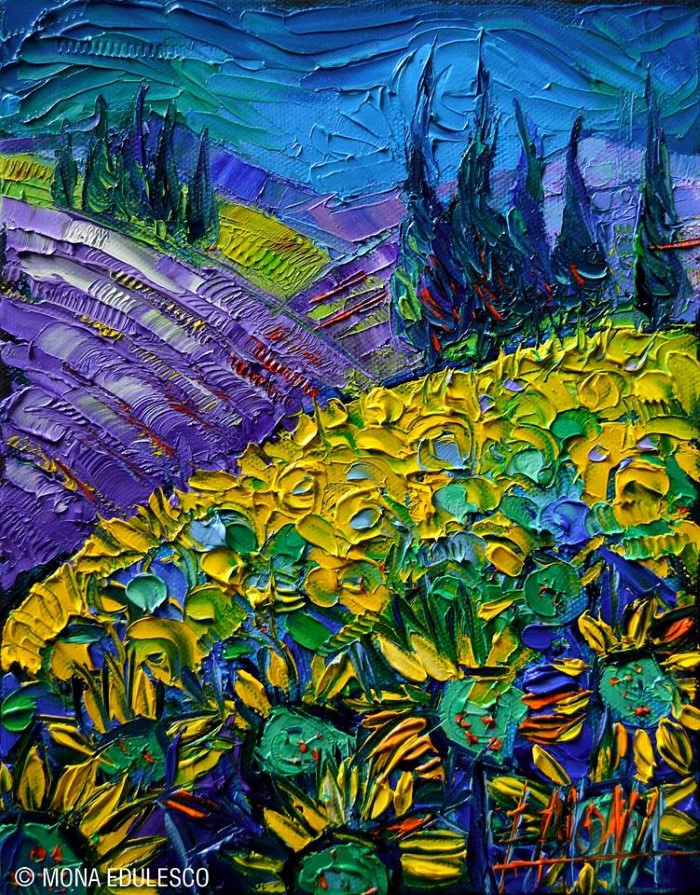Яркие и динамичные цвета. Французский художник. Mona Edulesco