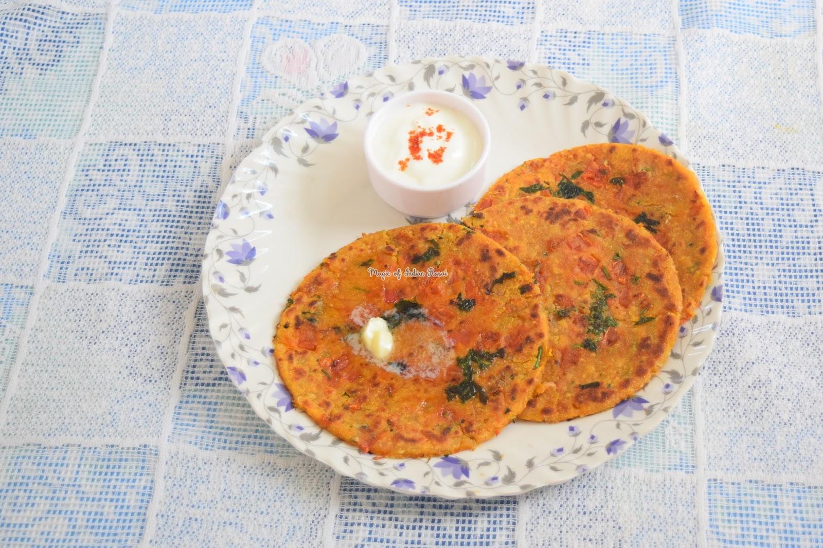 Rajasthani Tikkar Paratha - Pyaaz Tamatar Tikkar Recipe - राजस्थानी टिक्कर पराठा रेसिपी - Priya R - Magic of Indian Rasoi
