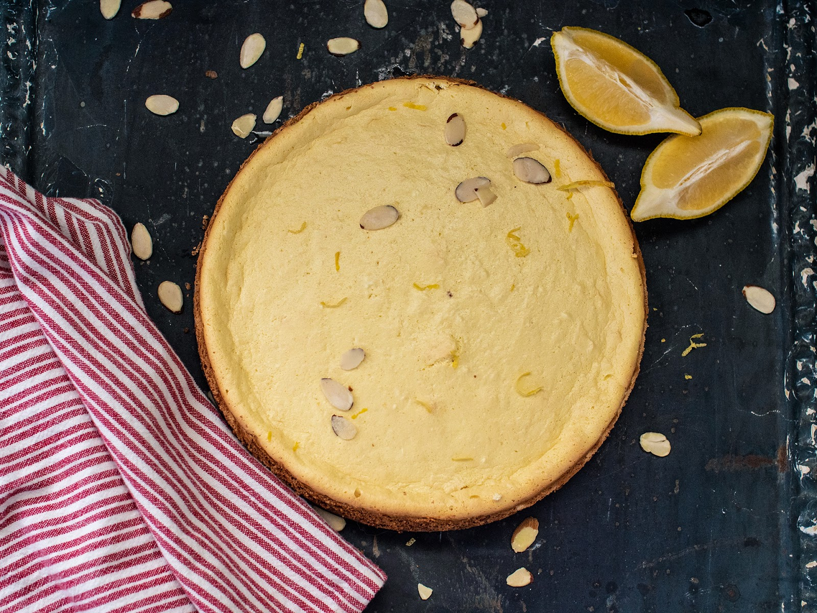 Lemon Ricotta Cheesecake with Almond Cookie Crust | Local Food Rocks