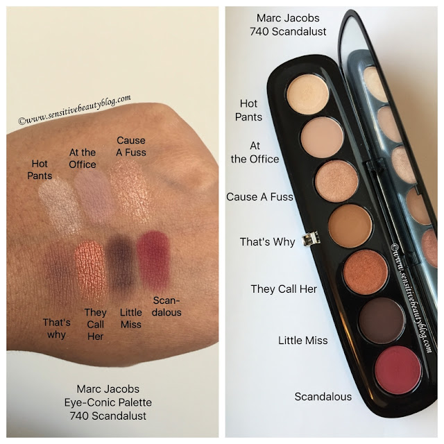 Marc Jacobs eye-conic Palette 740 Scandalust swatches on dark skin