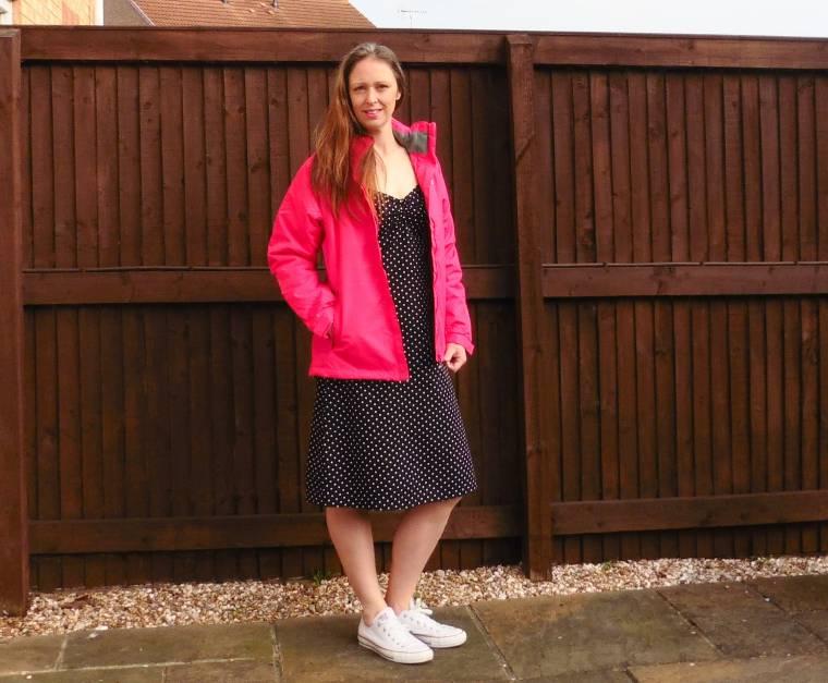 pink jacket and polka dot dress
