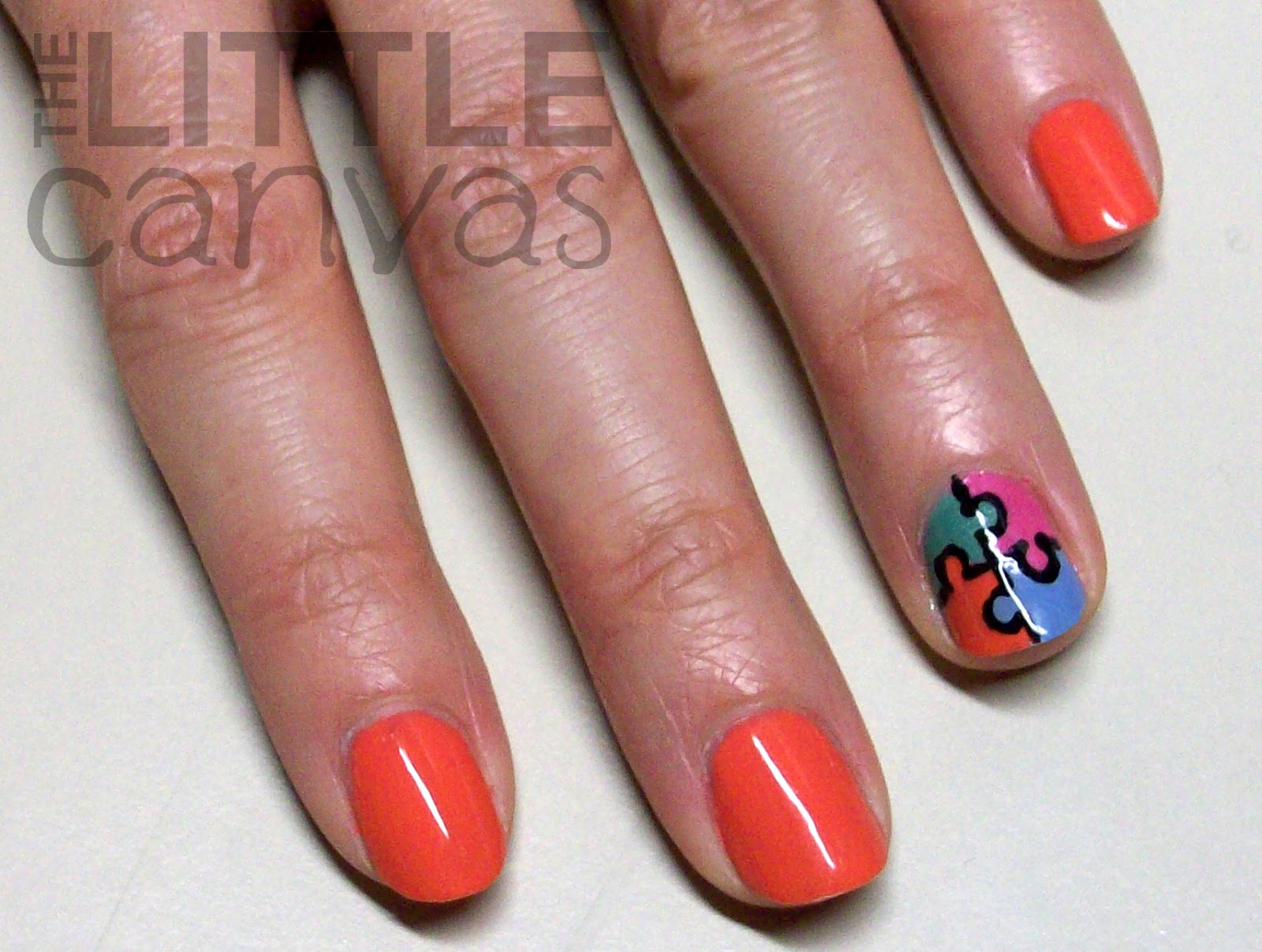 Puzzle Piece Nail Art - Essence Off to Miami! - The Little Canvas