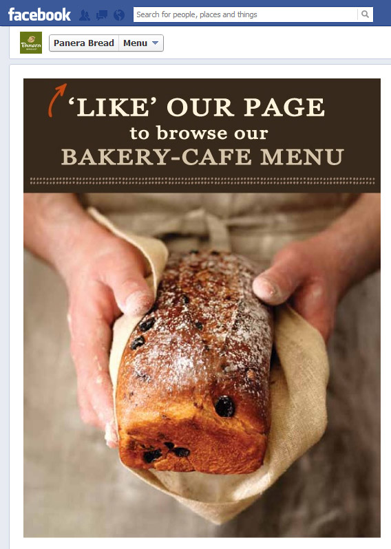Panera Bread facebook welcome page