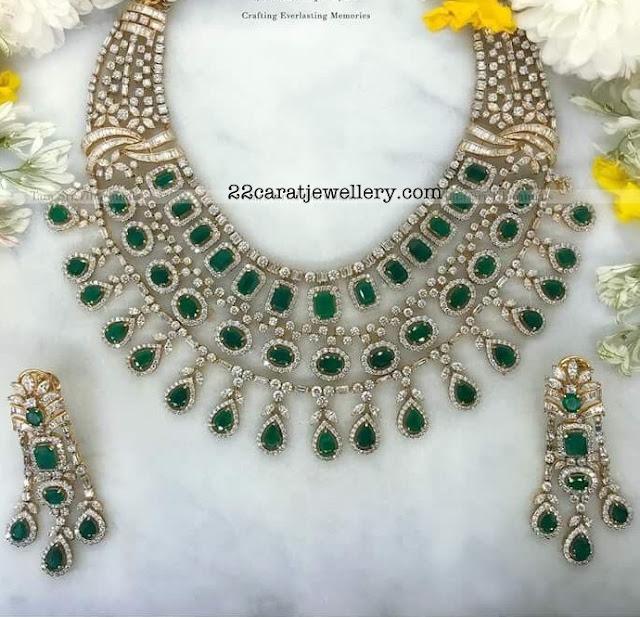 Three Rows Emerald Diamond Set by Tara Sri