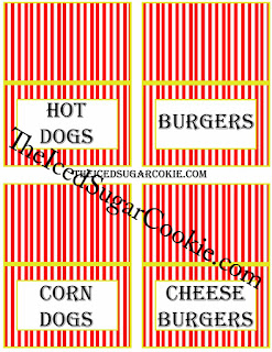 Circus Food Cards-Hot Dogs, Burgers, Corn Dogs, Cheeseburgers