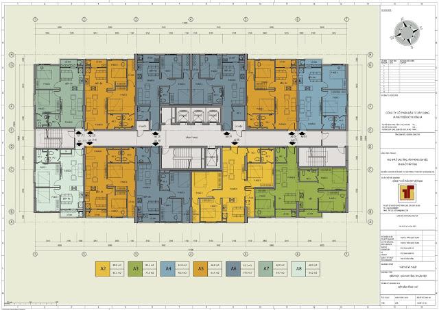 Mặt bằng tầng 14 - 27 chung cư 89 Thịnh Liệt