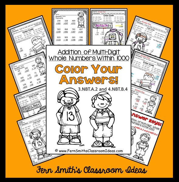 Addition of Multi-Digit Whole Numbers Within 1,000 Color Your Answers Printables!
