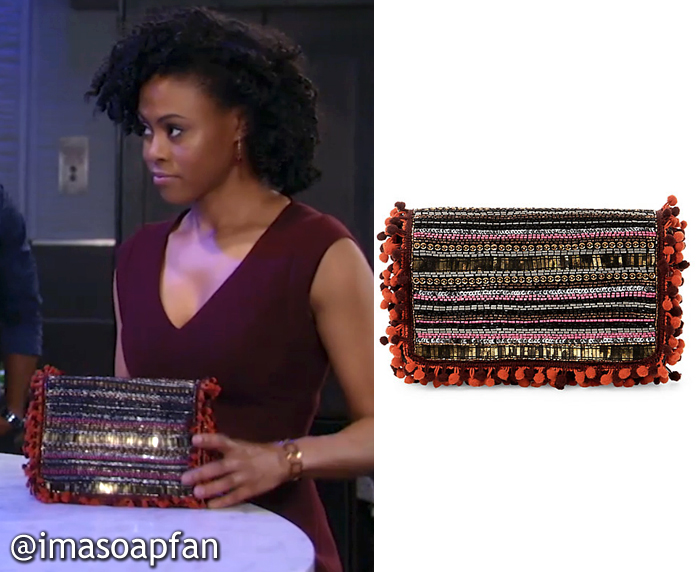 Jordan Ashford, Vinessa Antoine, Striped Beaded Clutch with Pom Pom Trim, Steve Madden, GH, General Hospital