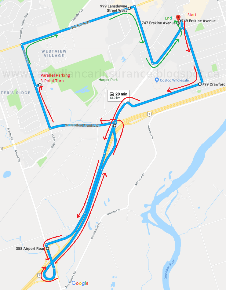 Peterborough G Road Test Route Maps