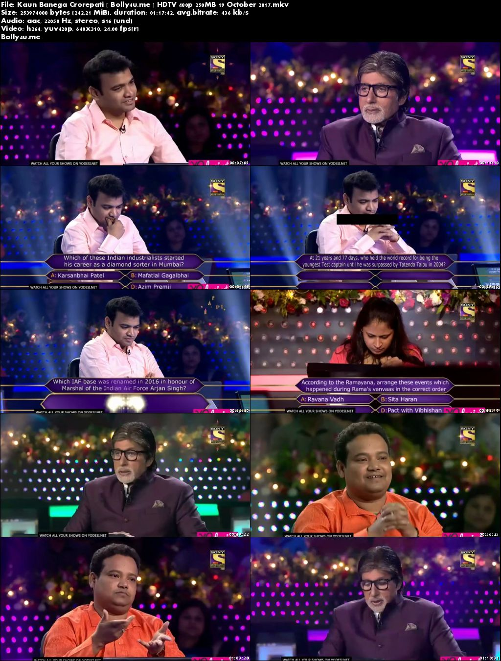 Kaun Banega Crorepati HDTV 480p 250MB 19 October 2017 Download