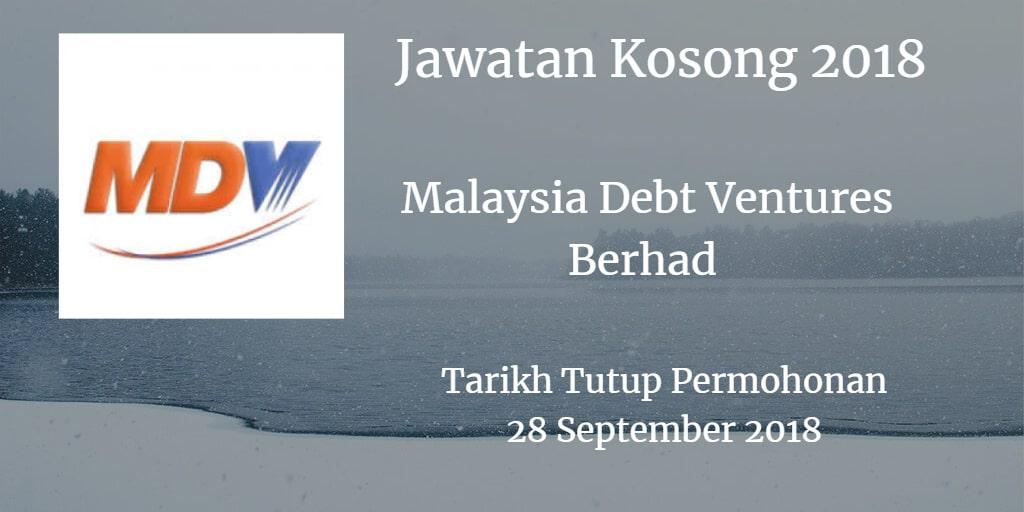 Jawatan Kosong Malaysia Debt Ventures Berhad 28 September 2018