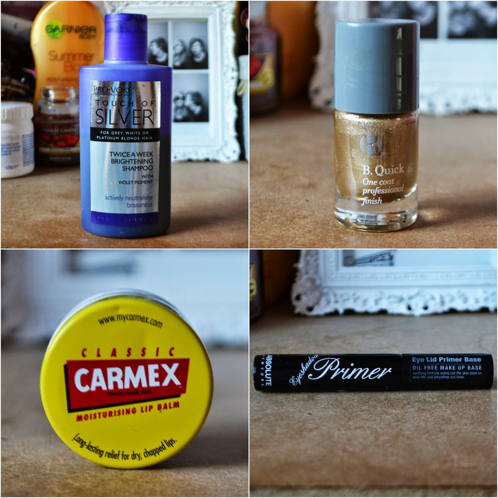 A COLLAGE OF MY FAVOURITE BEAUTY PRODUCTS THROUGHOUT JULY